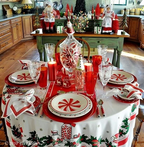 Wonderful Holiday Table Setting For The Little Round Tablecloth. My Favorite Site   Vintage Tablecloths And