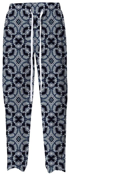 Be modern and unique with this geometric all over print pajama #pant in blue and white colors from #printalloverme by #dflcprints