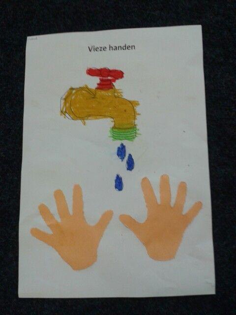 Vieze handen.  Prik en kleur opdracht.