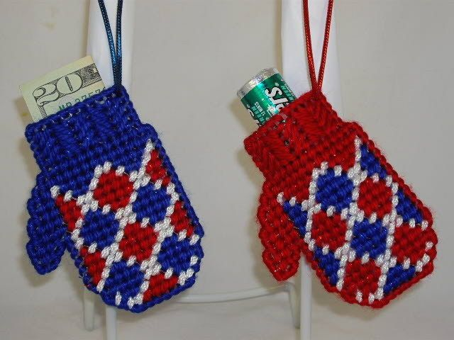"""""""GIFT MITTENS"""". They are meticulously needlepoint-stitched using seven count plastic canvas and premium quality yarns. GIFT MITTENS """" are. Handmade Plastic Canvas Ornaments. Requiring over three hours to complete both, each ornament was lovingly handmade. 
