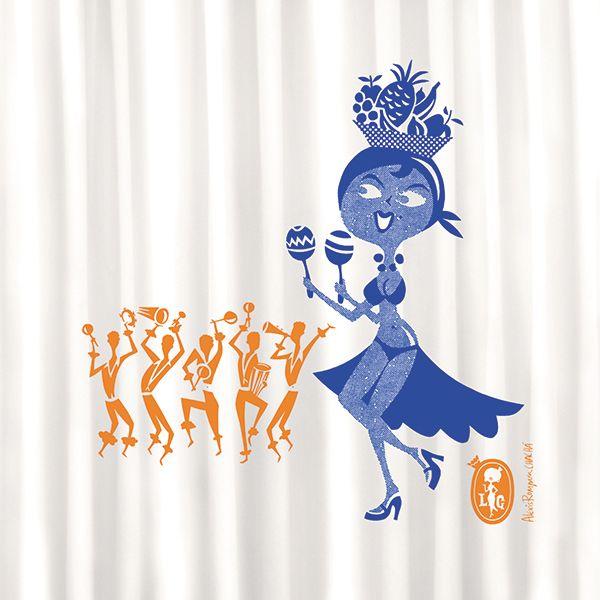Shower curtain / cortina de ducha / Rideaux de duche. Modelo La Guapa Samba de Alexis Rom. Made in Barcelona.  www.cha-cha.es