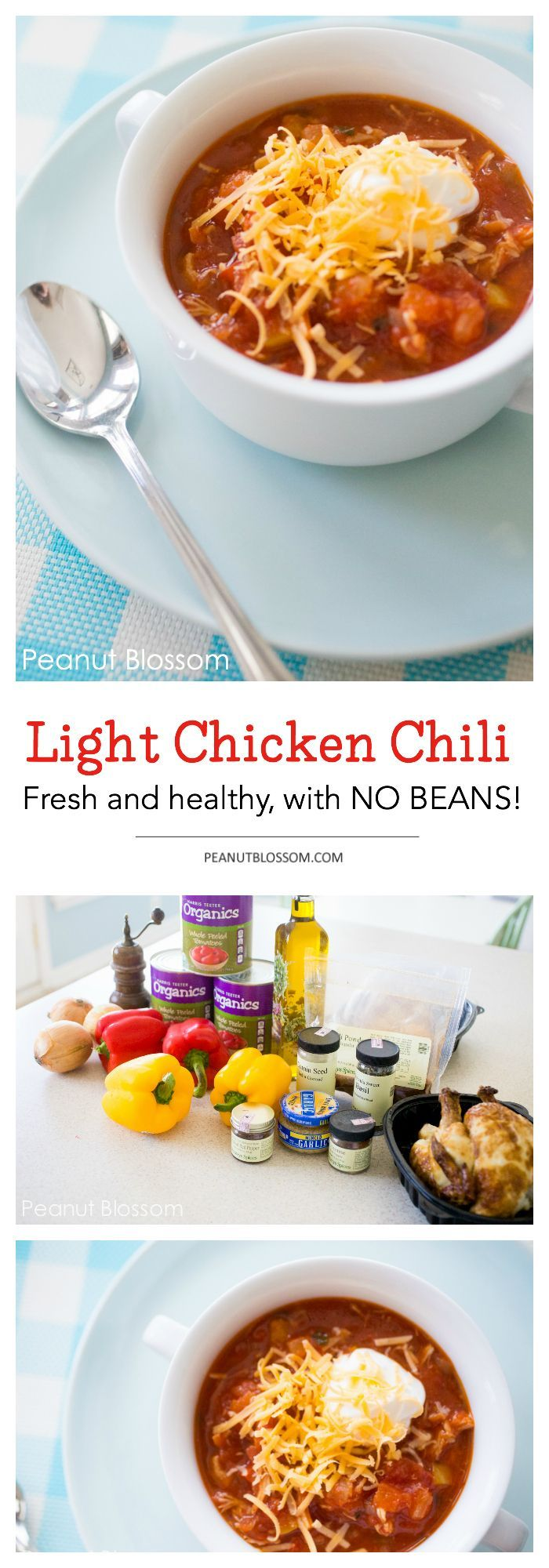 """Light and healthy chicken chili recipe is perfect for a cold and chilly weekend. The kids will love that this chili recipe has no beans in it! Serve it with some tortilla chips and a dollop of sour cream for dunking. I told my little one it was """"salsa soup"""" and she dug right in."""