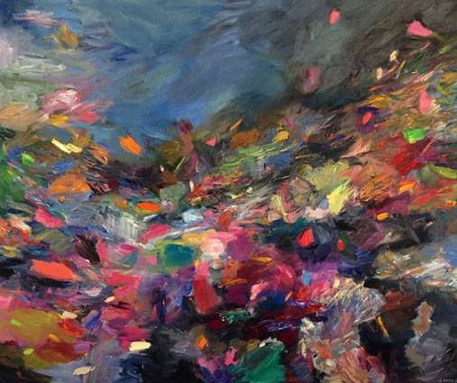 """Oil on Canvas Painting - South African Art- Cathy Layzell """"Watershed"""" 2017 Oil on canvas 150 x 180 cm"""