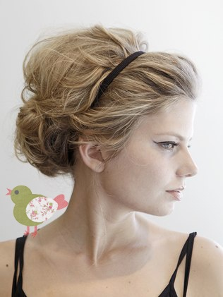 Wedding hair with headband. Give me a sparkly head band and I'd be all over this