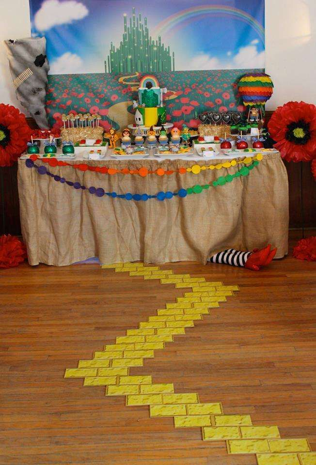 Amazing dessert table at a Wizard of Oz baby shower! See more party planning ideas at CatchMyParty.com!