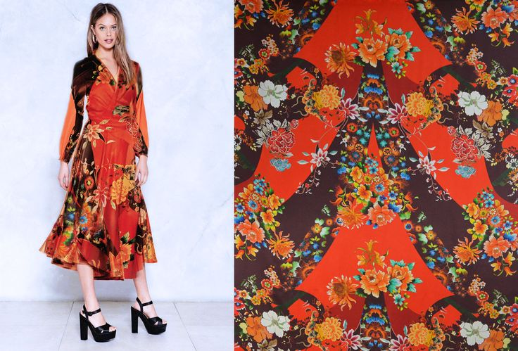 Choose a floral printed satin silk for your next dress!  This distinctive printed satin silk is available now here: https://www.malagoli.ro/en/product/mr-47  #Fabrics #Silk #SatinSilk #PrintedSilk #FloralPrints