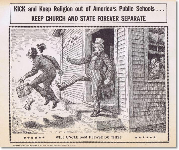 "1890 cartoon. Anyone that tells you that our founding fathers intended this country to be a Christian nation, frankly, has no idea what they are talking about. In fact, many of our founding fathers couldn't get far enough away from Christianity. Thomas Jefferson said that Christianity was ""the most perverted system that ever shone on man."" If Thomas Jefferson could only see us now."