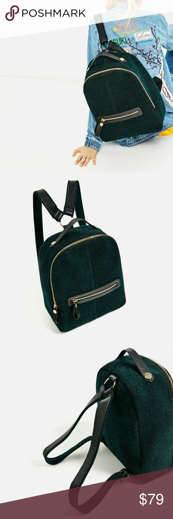 Zara backpack (8806) New with tag. Bottle green wool backpack. Small pocket on the front. Gold-toned hardware. Adjustable shoulder strap. Zip closure.?  Height x Width x Depth: 37 x 30 x 15 cm. / 14.5 x 11.8 x 5.9?  OUTER SHELL MAIN FABRIC 80% polyester, 20% wool  STRAP 48% polyester, 40% polyurethane, 12% wool  LINING 100% polyester  FILLING 100% ethylene vinyl acetate  Color Bottle green Zara Bags Backpacks