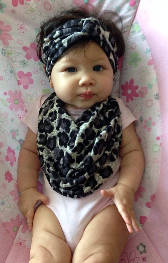 Matching Baby Scarf Bib Turban Headband combo that serves a dual purpose: Fashionable and Useful. Different patterns available on Etsy, $5.99