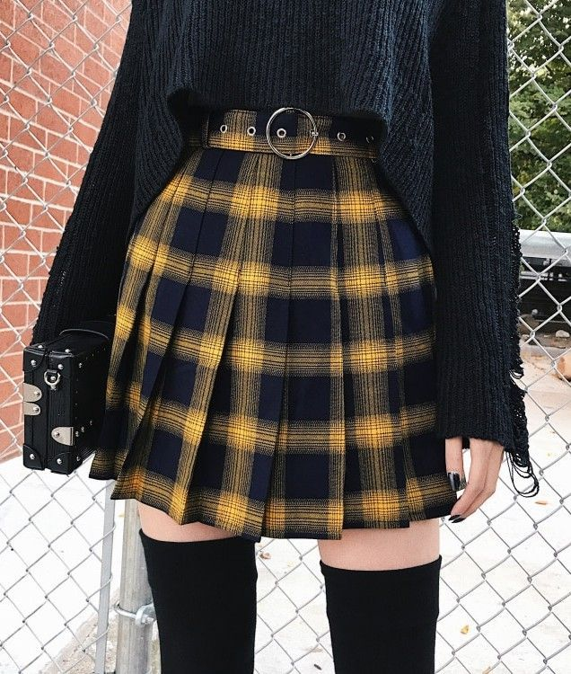 3c6194487071 High Waist Gold & Black Plaid Mini Skirt - #skirts #fashion #grunge  #alternative #miniskirts #plaid