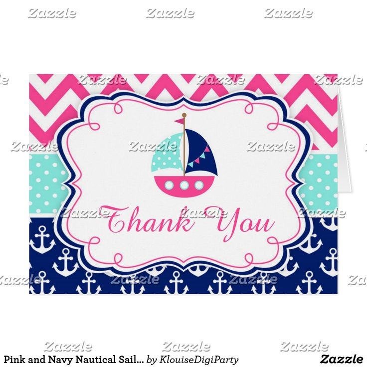 Pink and Navy Nautical Sailboat Thank You Card