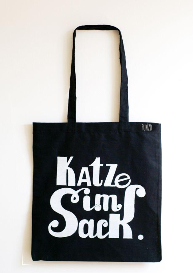 Lasst die Katze aus dem Sack, Jutebeutel / jute bag with art print by PUKIZO via DaWanda.com