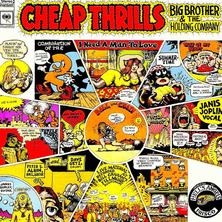 Big Brother and the Holding Company, Cheap Thrills: How Iconic Album Cover Illustrator Robert Crumb Brought Comics to Music | Brain Pickings