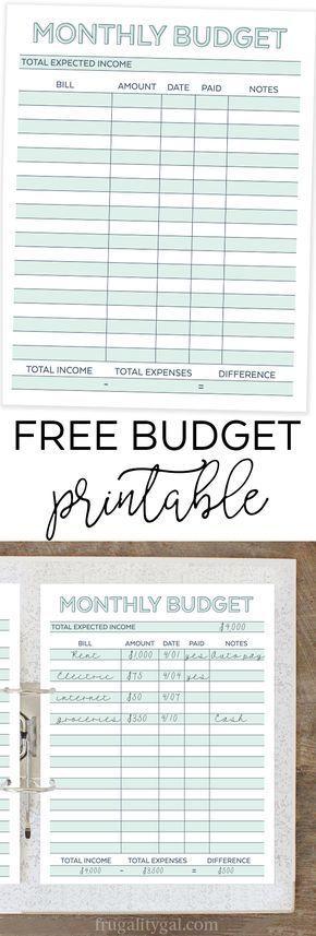 Ponad 25 najlepszych pomysłów na Pintereście na temat Printable - free printable budget planner