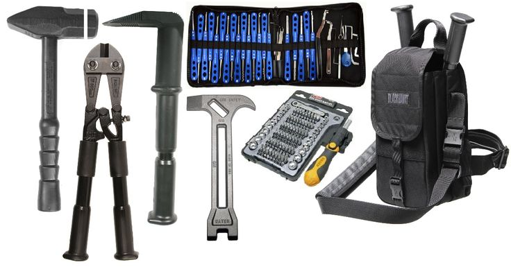 Dynamic Entry Tool Kit - Weighted (spark Resistant) Mallet, Bolt/Chain Link Cutter, Pry Bar with Nail Puller, Sparrow Lockpick kit, on duty 4 in 1 emergency tool (Shut off Water, Gas - Residential/Commercial, Pry bar, hook), multi bit screwdriver, Carry Bag.