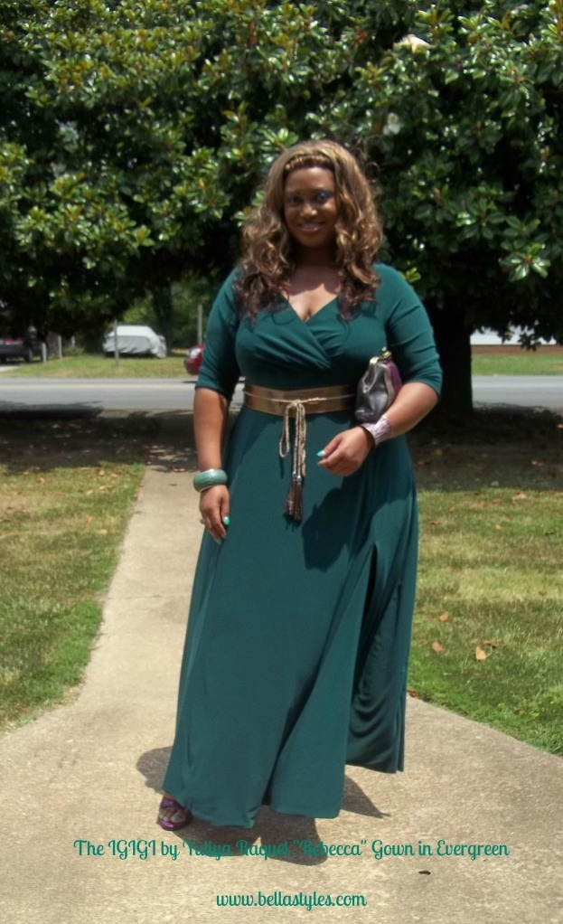 """""""I'm wearing the Rebecca Gown in Evergreen. This is a floor length gown with a high slit over the left thigh area and also comes with a stylish tassel belt in bronze. I've been tryna figure out for about a week now how to wear this dress."""" ~Bella Styles"""