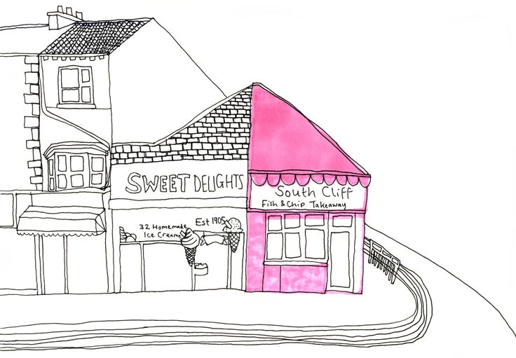 fine liner line drawing promarkers illustration bridlington seaside town
