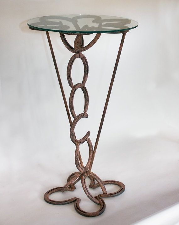 Rustic Horse Shoe Side Table - Western Decor
