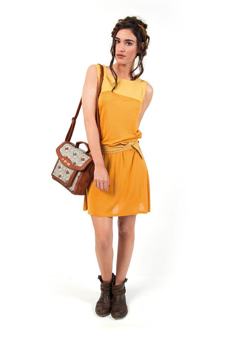 TABATHA-132 SKUNKFUNK women's dress fabric content: 94% viscose + 6% elastane color: brown,orange price: $109.00