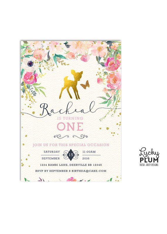 Deer Birthday Invitation / Bambi Birthday by LuckyPlumStudio