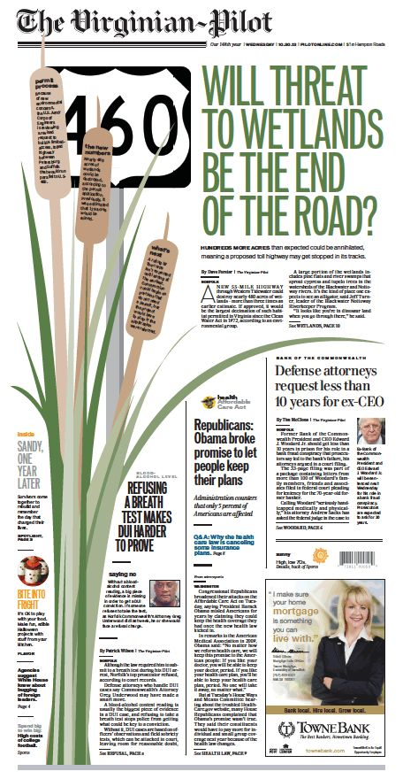 The Virginian-Pilot's front page for Wednesday, Oct. 30, 2013.