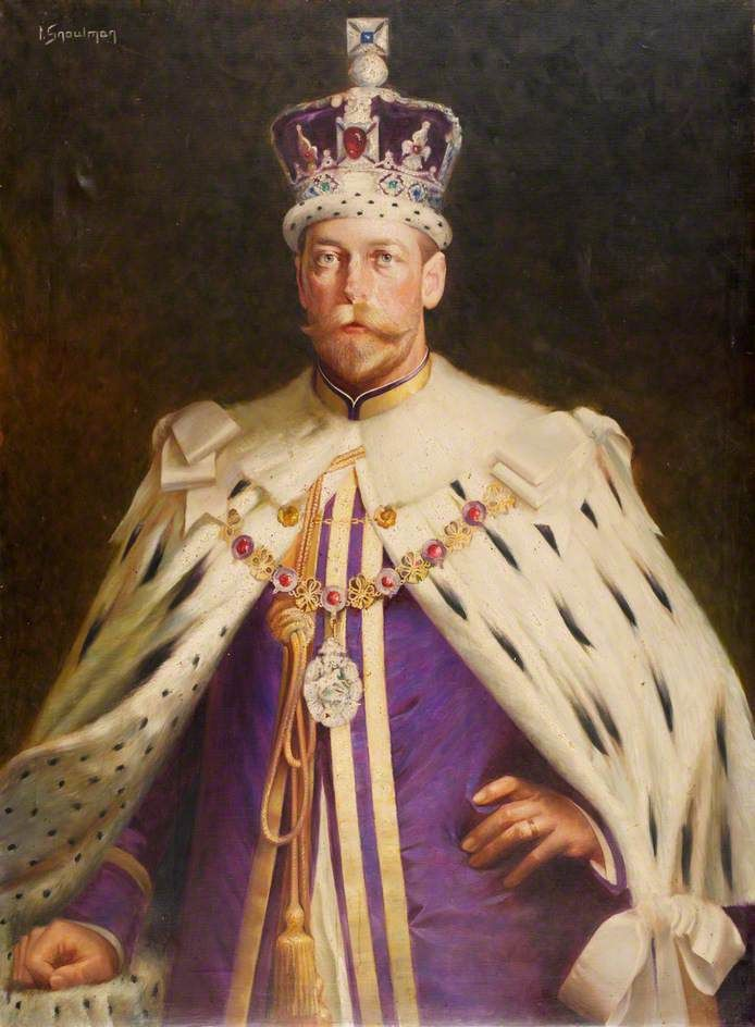 King George V succeeded his father:  King Edward VII (Albert Edward; 9 November 1841 – 6 May 1910) after his older brother died of pneumonia.