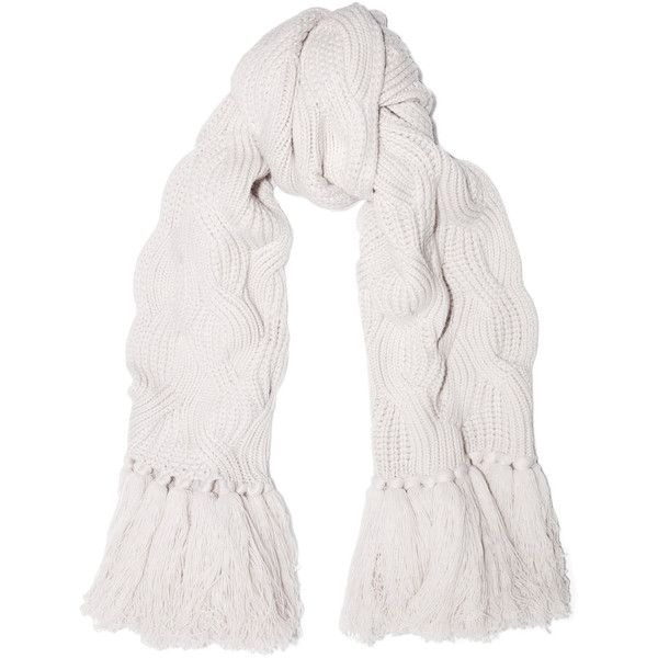 Johnstons of Elgin Cable-knit cashmere scarf ($1,145) ❤ liked on Polyvore featuring accessories, scarves, white, johnstons of elgin, chunky scarves, white shawl, cable knit scarves and cable knit shawl