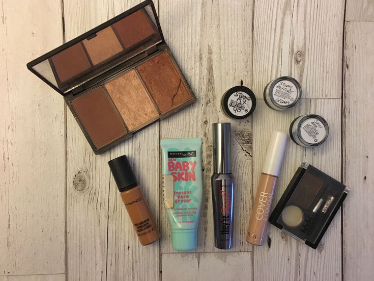 Sleek Contour Palette, MAC concealor, Maybelline Baby Skin Pore Eraser, Benefit They're Real! Mascara, MUA Concealor, NYX Brow Powder