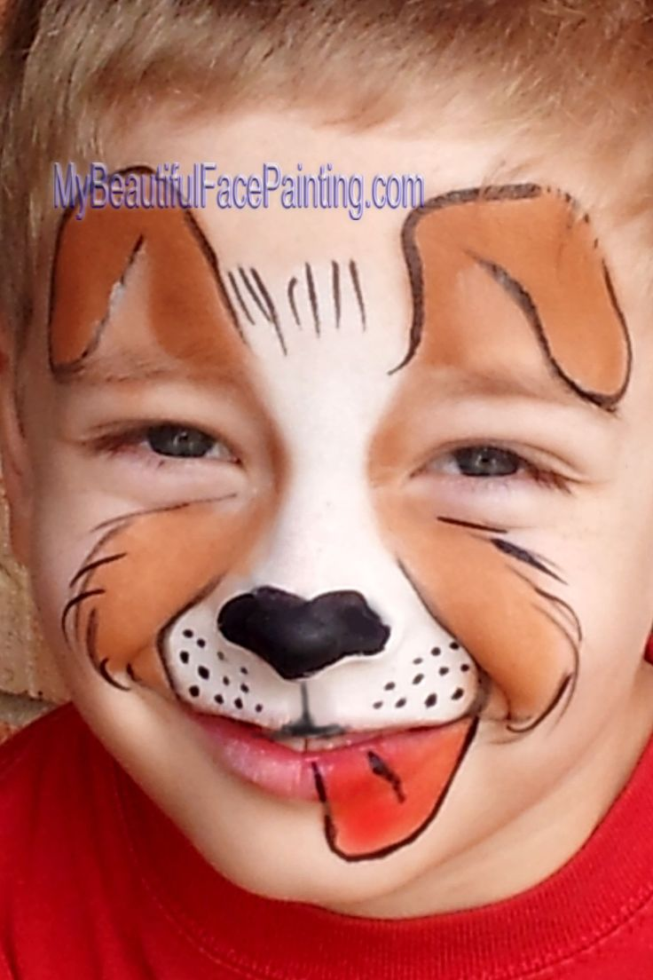 Face Paint cute Dog (animal group) #facepainting