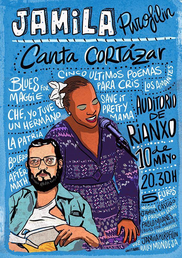 """#MUSICA #POESIA #CROWDFUNDING - """"Julio Cortázar songs/Las canciones de Julio Cortázar"""" es un CD con tres canciones inéditas musicalizadas por Jamila Purofilin y sus colaboradores a partir de poemas de Julio Cortázar. hombre man mujer cantando woman singing cartel picture +info http://www.juliocortazarsongs.wordpress.com  Crowdfunding verkami http://www.verkami.com/projects/5998-julio-cortazar-songs"""