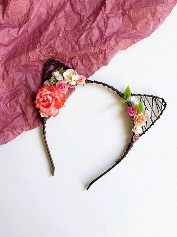 Bachelorette party accessories Kitten headband Flower cat ears Flower hair accessories Beads hoop with ears Cat woman hairband Floral crown