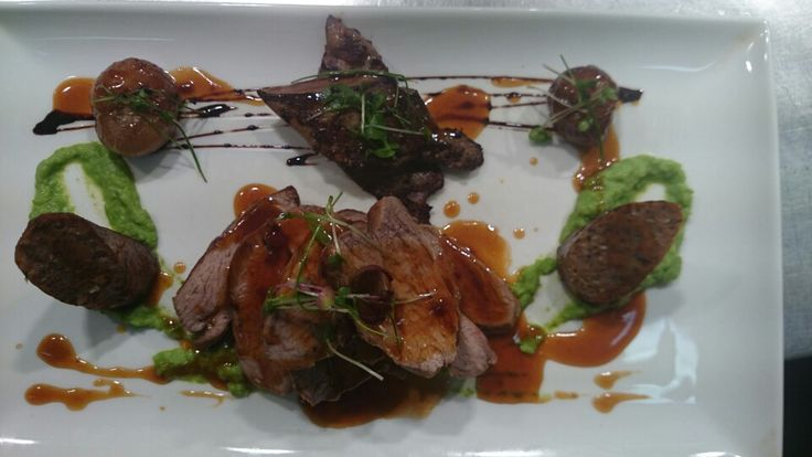 Lamb rump, liver and sausage, minted pea puree, roast shallots, balsamic jus.