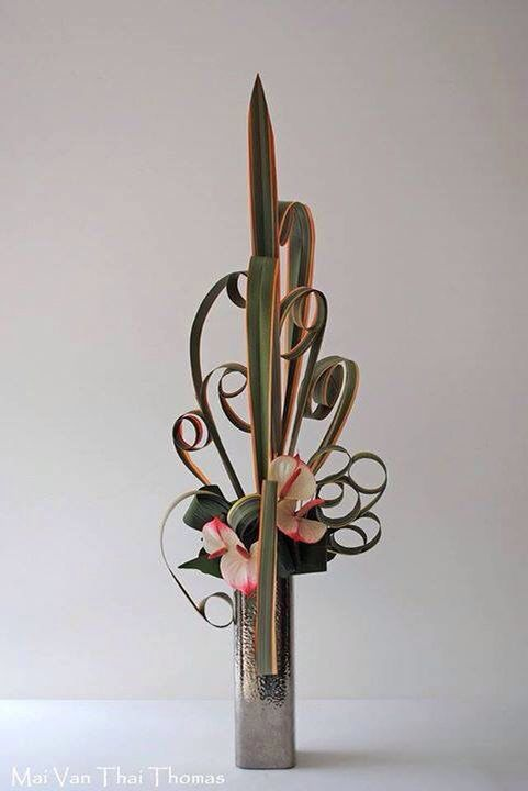 Variegated flex with anthuriums arrangement