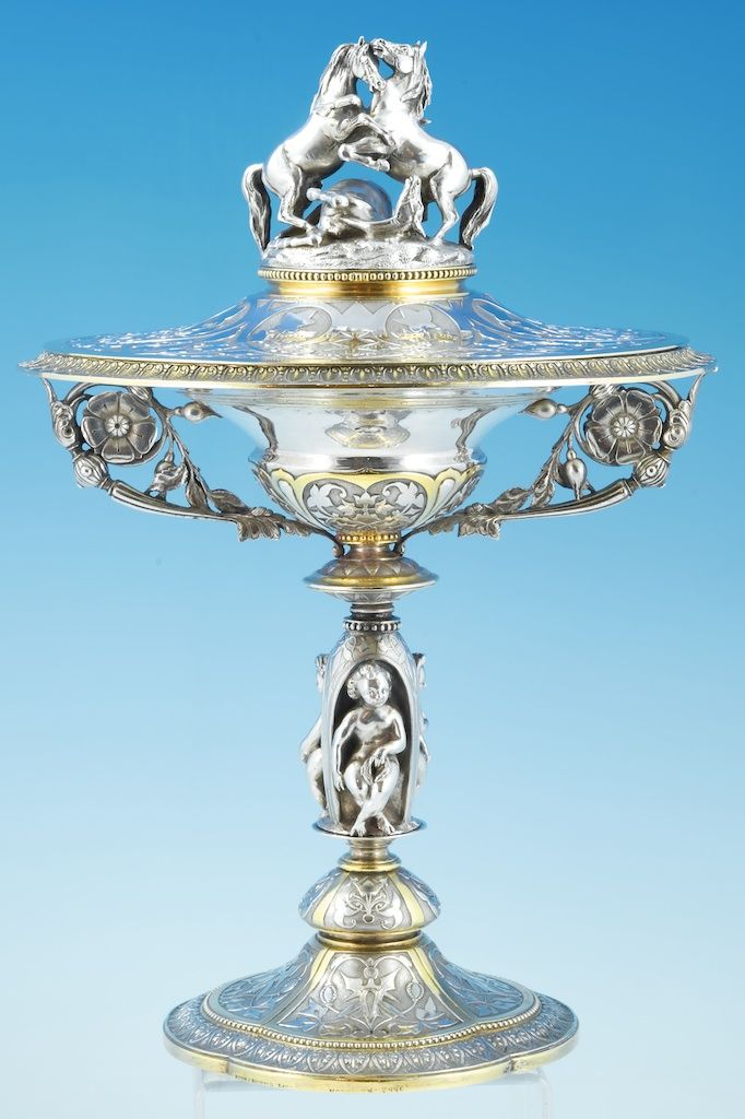 An outstanding Victorian silver Tazza and cover By John Samuel Hunt London 1863