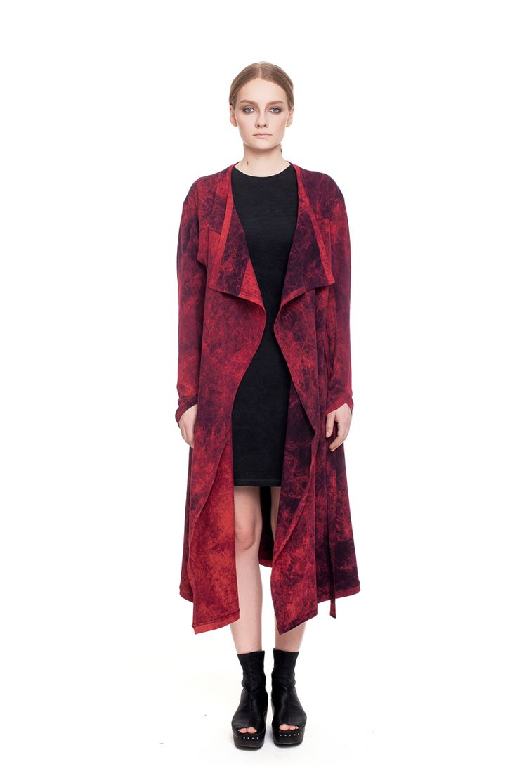 Cardigan with pockets and belt, burgundy acid wash    #mariashi #fashion #russiandesigners #nofilter #outfit #outfitoftheday #outfits #outfitpost #clothes #fashionista #fashiondesigner #shopping