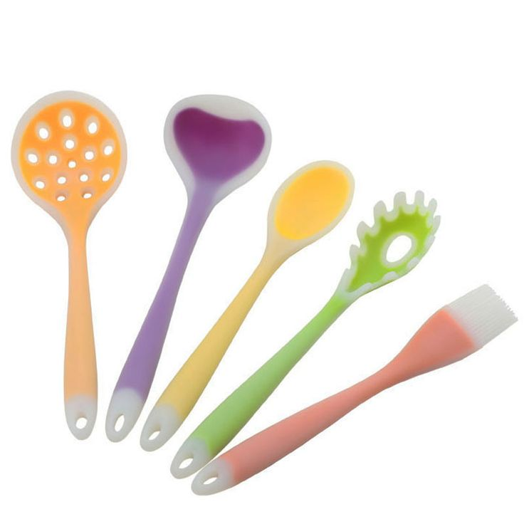 5pcs/set silicone cooking tools includes Silicone Skimmer,Soup Ladle,Soup Spoon,Pasta Fork,Brush
