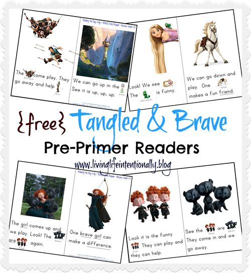 {free} Tangled & Brave Pre-Primer Early Readers based on Dolch Sight Words!Brave Pre Prim, Brave Free, Pre Prim Reader, Bonus Reader, Homeschool Preschool, Preschool Ideas, Preschool Homeschool, Brave Reader, Free Tangled