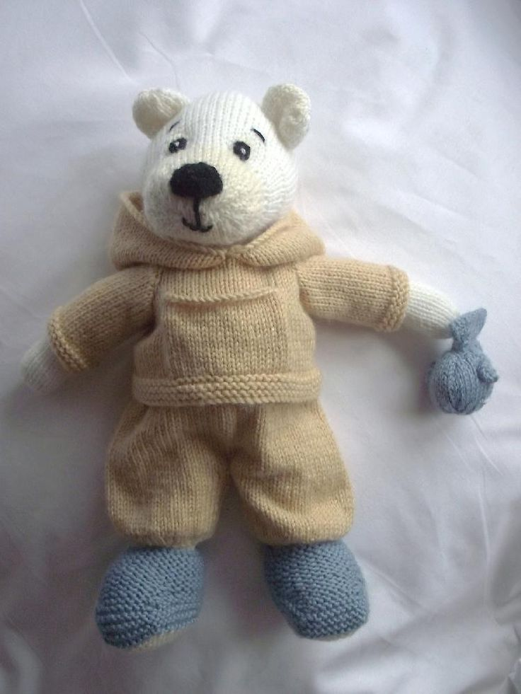 Polar Pete polar bear knitting pattern by Cilla Webb - There's nothing Pete loves more than fish. He has them for breakfast, lunch and dinner... and sometimes even as a midnight feast! Download him at LoveKnitting!
