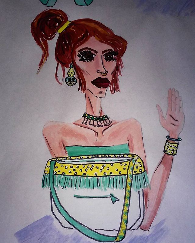 #girl #woman #bag #yellow #polkadots #turquoise #tufted #fringe #accessories #jewelleries #necklace #earrings #bracelet #fashion #moda #mode #design #designing #designer #fashiondesign #fashiondesigner #fashiondesigning #style #stylish #stylist #illustration #illutrate #fashionillustration #nosepiercing