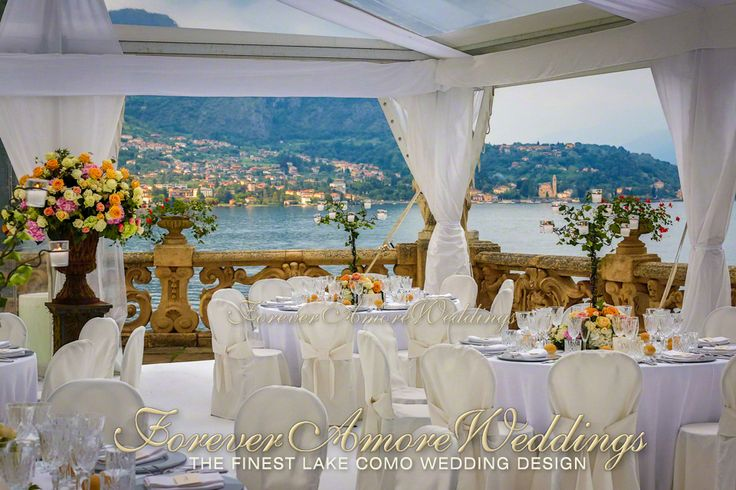 Wedding at Villa Balbianello, Lake Como. Elegant wedding reception on Balbianello's Lake Terrace, with crystal marquee. Picture by Steve Tarling for ForeverAmoreWeddings ©