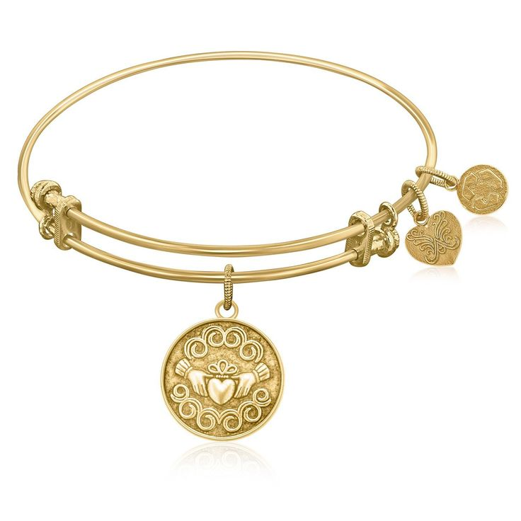 Expandable Bangle in Yellow Tone Brass with Claddagh Love And Friendship Symbol