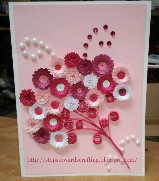 Monochrome Quilled Bouquet Card: Handmade Birthday Cards, Quilling Cards, Crafts Ideas, Cards Ideas, Bouquets Cards, Handmade Cards, Greeting Cards, Quilling Bouquets, Quilling Flowers