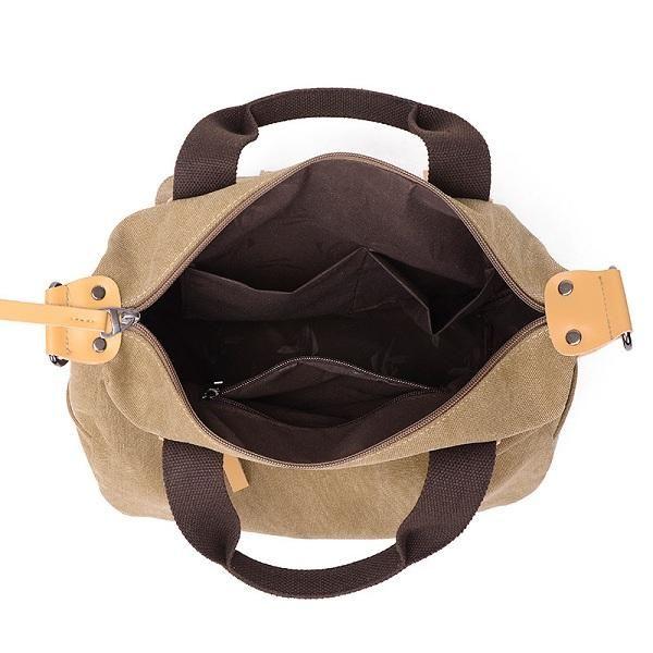 Women Canvas Casual Large Capacity Functional Multi Pocket Handbag Shoulder Bag - US$29.99