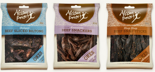 African Pride Packaging  With trends indicating that South African consumers are celebrating their heritage with their choices of trusted local brands, our client needed to react and take advantage of this trend.    Nothing makes us feel more rooted to our heritage than carving a slice of biltong or sharing a stick of droewors. It was based on this that we created a brand that links to our culture and the unique South African social outlook.