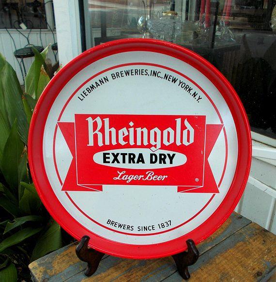 Rheingold Extra Dry Lager Beer Metal Tray Liebmann Breweries