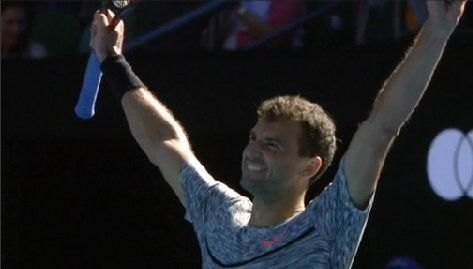 1/25/17 Grigor Dimitrov is through to the Aus Open semis after beating David #Goffin 6-3 6-2 6-4. via Live Tennis