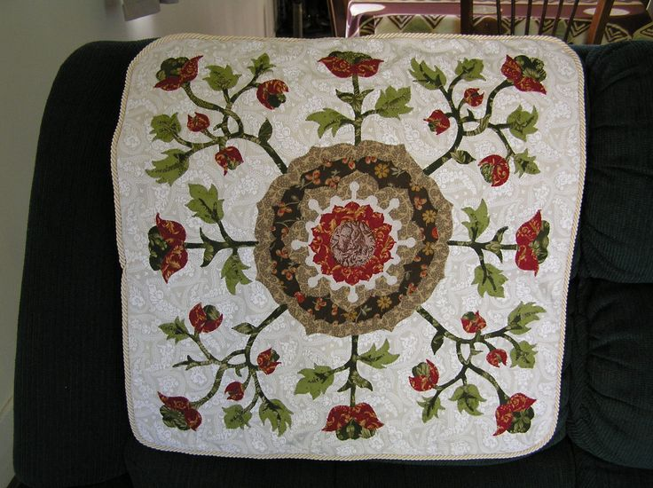 Tudor Rose cushion cover - a pattern by Michele Hill  from the book William Morris in Applique