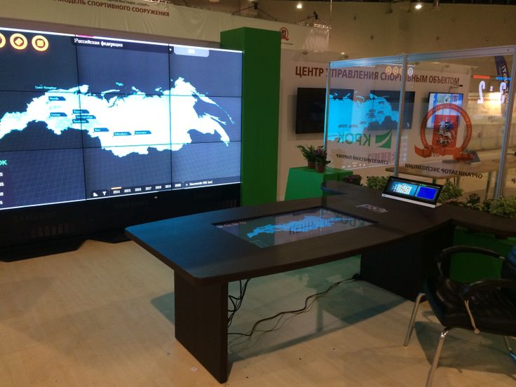 """For Sports2014 Expo we created several #multitouch tables to show how modern negotiations room or control center should look. 20 touch controlled input signals, 138"""" #multitouch wall, 6 person #multitouch table, special map #multitouch app"""