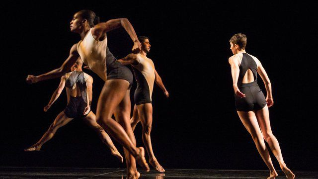 """Dancers in Narciso Rodriguez's costumes for Stephen Petronio's """"Locomotor"""""""