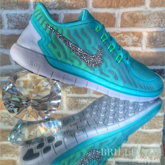 Blinged Nike Free 5.0 Aqua - Swarovski® Crystals Authentic Women's Nike Free 5.0 running shoes in Aqua Blue.  Outer Nike logos are encrusted with hundreds of genuine Swarovski® crystals in up to 16 different sizes to ensure maximum brilliance and shine.  Shoes are brand new in original box and are purchased directly from Nike authorized retailers.  Crystals are applied with industrial strength glue & will not come off.  *Note* These shoes are made to order.  Please allow up to 2 weeks to…